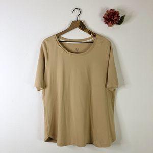 ISAAC MIZRAHI Pima Scoop Neck T-Shirt